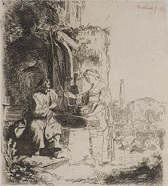 School of Rembrant rendering of Christ's encounter with the Woman at the Well.