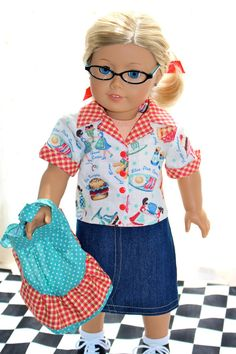 American Girl Doll Clothes Retro Blue Plate by LollyDollyDesigns