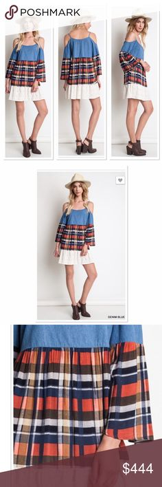CUTE PLAID/LACE/DENIM COLD SHOULDER TUNIC/DRESS Who says you can't have it all. Well this cutie has everything. The combo of textures and patterns are super adorable. Wearable with so many things to create tons of different looks. Make it your own. Be beautiful!!! Be You!!! Boutique Dresses Mini