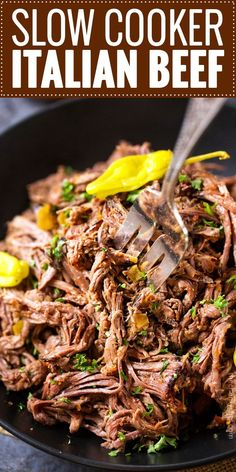 Slow Cooker Shredded Italian Beef   Tangy and spicy, this Italian beef is easily cooked in a slow cooker until fork tender, then shredded, for the ultimate in delicious easy weeknight dinners!   http://thechunkychef.com