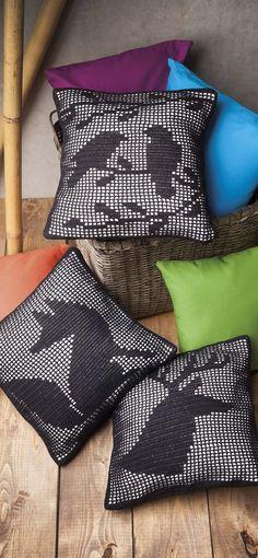 filet crochet cushions