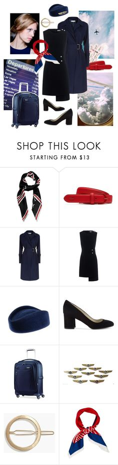 """""""Welcome on board!"""" by sophier ❤ liked on Polyvore featuring Givenchy, Lacoste, Victoria Beckham, Finders Keepers, Hobbs, Samsonite, Madewell, self-portrait, flight and attendant"""
