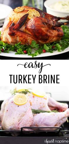 EASY Turkey Brine (only 3 ingredients!) This basic turkey brine recipe will teach you how to brine a turkey - the easy way! Takes just 3 simple ingredients and is failproof. Easy Turkey Brine, Baked Turkey, Brine Recipe, Thanksgiving Recipes, Christmas Recipes, Holiday Recipes, Delicious Dinner Recipes, Turkey Recipes, 3 Ingredients