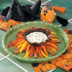 witch's caldroun! With red, orange & yellow bell pepper strips and pretzel rods for the fire. FUN!
