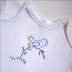 Birdie On A Branch - Onesie, Bodysuit, or Tee Shirt - Hand Embroidered (made to… Hand Embroidery Patterns Free, Basic Embroidery Stitches, Baby Embroidery, Flower Embroidery Designs, Simple Embroidery, Baby Gifts To Make, Sewing Leather, Baby Sewing, Crochet
