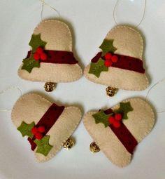 100 Acrylic Felt Christmas Bells by teafueledshenanigans on Etsy Diy Xmas, Christmas Sewing, Christmas Projects, Felt Crafts, Handmade Christmas, Holiday Crafts, Felt Christmas Decorations, Felt Christmas Ornaments, Christmas Bells