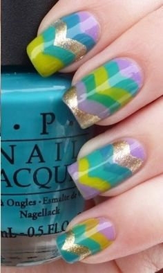 Chevrons in cool colors