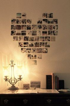 Heart shaped wall photo display https://www.pinterest.com/lilyslibrary/ cool