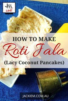 Roti Jala (aka Lacy Coconut Pancakes) is a very popular afternoon tea snack and is quite easy & fun to make. Here's the full recipe and replay from Jackie M's LIVE Asian Kitchen broadcast. Coconut Pancakes, Tea Snacks, Asian Kitchen, Replay, Afternoon Tea, Singapore, Brunch, Popular, Live
