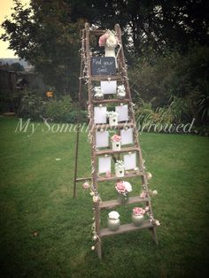 Vintage stepladder table plan, available to hire!      www.mysomethingborrowed.co.uk www.facebook.com/mysomethingborrowedhire