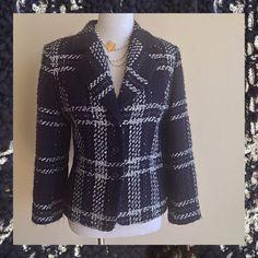 "Sale! Peter Nygard Navy /Silver Blazer Peter Nygard Dark Navy & Metallic Silver Boucle blazer. Perfect for jeans or with a pencil skirt or sheath dress. Measurements - Shoulder 17"" Bust-19"" Waist-17"" Sleeve-24"" Peter Nygard Jackets & Coats Blazers"