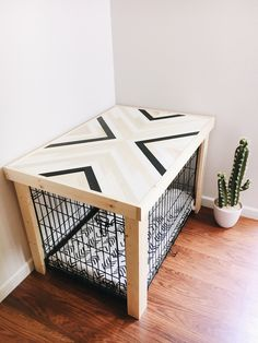Crate Table - Wood Chevron Art Kennel Cover - modify your basic wire dog crate - MEDIUM length - bed, curtain, blanket sold separately - Dog Kennel Dog Crate Cover, Dog Kennel Cover, Dog Crate Furniture, Diy Furniture, Dog Crate Table, Wood Dog Crate, Dog Crate Beds, Dog Beds, Wood Dog Bed