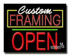 """Custom Framing Open Neon Sign - Block Text - 24""""x31""""-ANS1500-2248-1g  31"""" Wide x 24"""" Tall x 3"""" Deep  Sign is mounted on an unbreakable black or clear Lexan backing  Top and bottom protective sides  110 volt U.L. listed transformer fits into a standard outlet  Hanging hardware & chain included  6' Power cord with standard transformer  Includes 2nd transformer for independent OPEN section control  For indoor use only  1 Year Warranty on electrical components."""