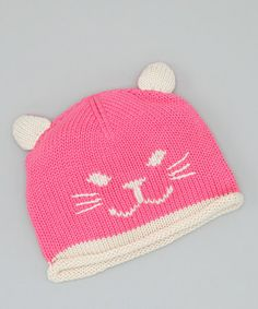 Take a look at this Pink Kitty Beanie by Nana Knits on #zulily today! $10 !!
