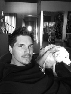 Zak Bagans from Ghost Adventures with his dog Gracie...I don't think its creept that I know his dogs name.