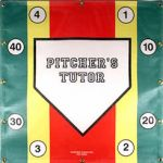 Pitcher's Tutor is designed to give the player a visual zone, both horizontal and vertical, where to throw the pitches as well as numerous targets for pitch location. The 30 x 30 inch size gives the approximate size of an adult strike zone. When the coach calls out a number and a type of pitch, the pitcher must hit the corresponding number with the appropriate pitch. The bright colors make it easy to determine where a pitch hits the target. Price $29.95