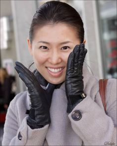 Ladies in Leather Gloves Gloves Fashion, Leather Gloves, Lady, Coat, Sewing Coat, Peacoats, Coats, Jacket