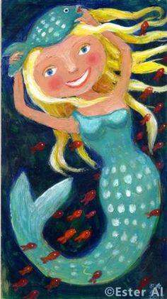 Happy Mermaid Illustration by Ester Al