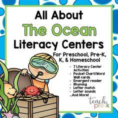 All About the Ocean Literacy Centers for Preschool, PreK, K & Homeschool