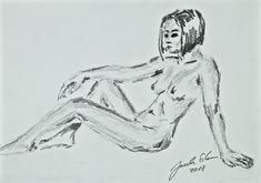 Sitting - nude in pencil on paper