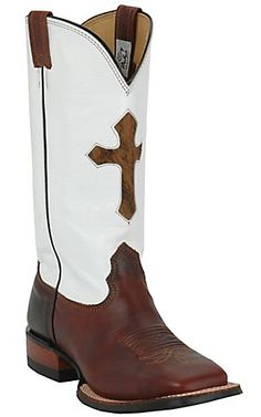 Larry Mahan® Mens Redwood Rowdy w/ Brown Cross on White Top Square Toe Western Boot | Cavenders Boot City