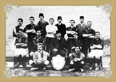 1908-1909 Galatasaray Football team with famous Ottoman author Tevfik Fikret