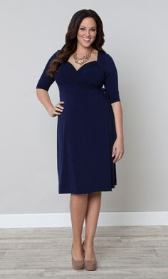 Plus Size Sweetheart Knit Wrap Dress by Kiyonna |  #KiyonnaPlusYou #Kiyonna  #PlusSize