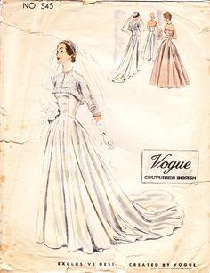 1950s Vogue Couturier wedding dress design. Love the lace bolero.