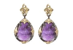 Midnight pear cravelli-drop earring with Sugelite and diamonds. We have these on order....they are great.