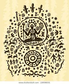 Encontre imagens stock de Ethnic Tribal Native Prehistoric Shaman Symbol em HD e milhões de outras fotos, ilustrações e imagens vetoriais livres de direitos na coleção da Shutterstock. Milhares de fotos novas de alta qualidade são adicionadas todos os dias. Shaman Symbols, Tribal Symbols, Ancient Symbols, Ancient Art, Arte Tribal, Tribal Art, Shaman Ritual, Face Line Drawing, Symbolic Art