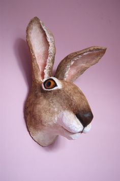 George a paper clay papier mache faux taxidermy hare sculpture by albertinebelle on Etsy