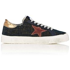 Golden Goose Women's Women's May Velvet Sneakers ($425) ❤ liked on Polyvore featuring shoes, sneakers, multi colored sneakers, wedge heel shoes, distressed sneakers, wedge sneakers and wedge heel sneakers