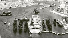 HMS Narvik and her six Royal Navy submarines sit in Msida Creek, Malta in Photo: Bay Retro Malta History, Royal Navy Submarine, Utility Boat, German Submarines, Malta Island, Summer Scenes, Cabin Cruiser, Navy Ships, Small Boats