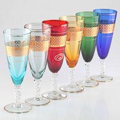 6 bunte Sektgläser Farbglas Decor Cristal Giorgi Gold Rand Dekor türkis rot K19