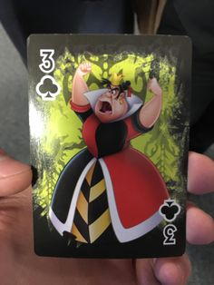 In the Disney Villains deck of playing cards the Queen of Hearts is the three of Clubs.