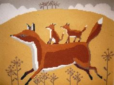 Fox and Cubs Tapestry Kit x x The canvas has 12 holes to the inch. It is worked with Appleton wools using three strands. Needlepoint Designs, Needlepoint Kits, Tapestry Kits, Foxes, Cubs, Needlework, Scandinavian, Cross Stitch, Arts And Crafts
