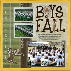football scrapbook ideas | Project Ideas: Boys of Fall Football Traditional Tuesday Scrapbook ...