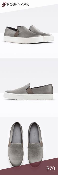 Vince Berlin Pearlized Canvas Sneaker - sz 9 Vince Berlin pearlized canvas slip on sneakers. Worn once, in excellent used condition. Silvery grey color. Leather trim. Size 9. Vince Shoes Flats & Loafers
