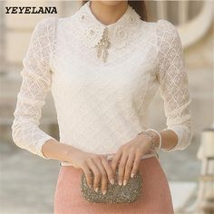 Cheap women fashion shirt, Buy Quality women shirts directly from China womens lace blouse Suppliers: YEYELANA Women Lace Blouses 2017 Spring Summer New Elegant Femininas Long Sleeve chiffon Blouse Korean Style Women Shirt Jw Mode, Modest Fashion, Fashion Outfits, Style Fashion, Lace Tops, Lace Blouses, Lace Outfit, Pretty Outfits, Pretty Clothes