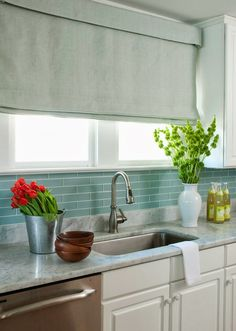Sea Green And White Kitchen With Wainscot
