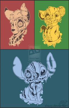 Cyber-Disney i would totally get stitch or simba tattooed! Disney Fan Art, Disney Love, Disney And Dreamworks, Disney Pixar, Pikachu, Dark Disney, Never Stop Dreaming, Disney Tattoos, Lilo And Stitch