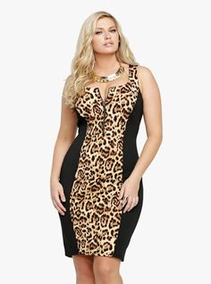 Unleash your wild side in this uber-sexy leopard-front bodycon dress. Made from our amazing scuba-like fabric, the black bodycon dress features an exposed brass tone zipper down the bust and hugs curves in all the right places. Curvy Fashion, Plus Size Fashion, Girl Fashion, Fashion Dresses, Womens Fashion, Animal Print Plus Size Dresses, Vestidos Animal Print, Modelos Fashion, Dress Up