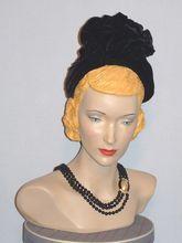 "Vintage 1940's Raven Black Velvet Cocktail Hat Styled by ""Jean"""