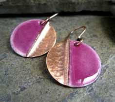 New Fold Form And Torch Enamel Earrings