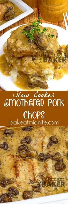 chops smothered in an awesome gravy. Easy to make in the slow cooker.Pork chops smothered in an awesome gravy. Easy to make in the slow cooker. Crock Pot Food, Crockpot Dishes, Pork Dishes, Porkchop Recipes Crockpot, Pork In Crockpot Recipes, Pork Chop Side Dishes, Pork Casserole, Crock Pot Slow Cooker, Beef Recipes