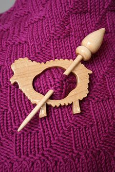 Sheep - shape wood shawl pin for knit and crochet accessories.