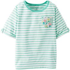 Carters Baby Girls Striped Tee Baby  Turquoise  18 Months -- You can get more details by clicking on the image.