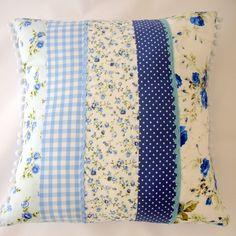 Blue patchwork and bobbletrim cushion - Folksy