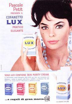 Pubblicità cofanetto crema Lux 1960  Testimonia Pascale Petit