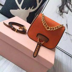 c67a704f173c Miu Miu 5BD033 Small Calf Leather Dahlia Shoulder Bag Orange Brown 2016   MiuMiu